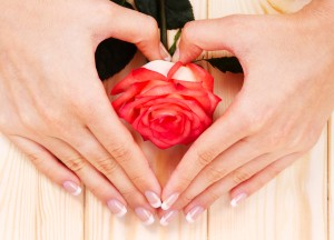 hands shaped in a heart with rose